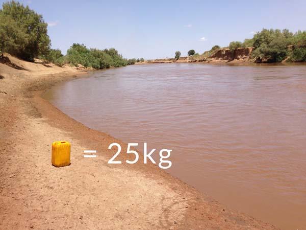 Un bidón típico utilizado para transportar agua pesa unos 25 kg