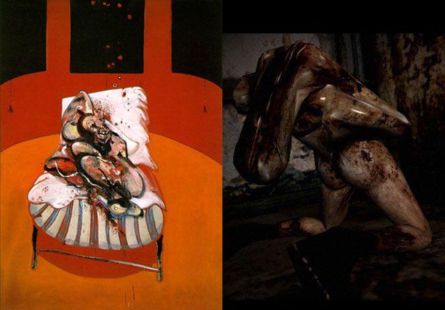 Fragmento de 'Tres estudios de Lucian Freud', de Francis Bacon, y escena de 'Silent Hill'
