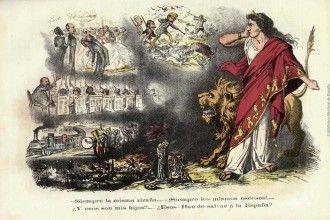 Ilustración de la revista satírica La Flaca (1870), del archivo de la Biblioteca Nacional