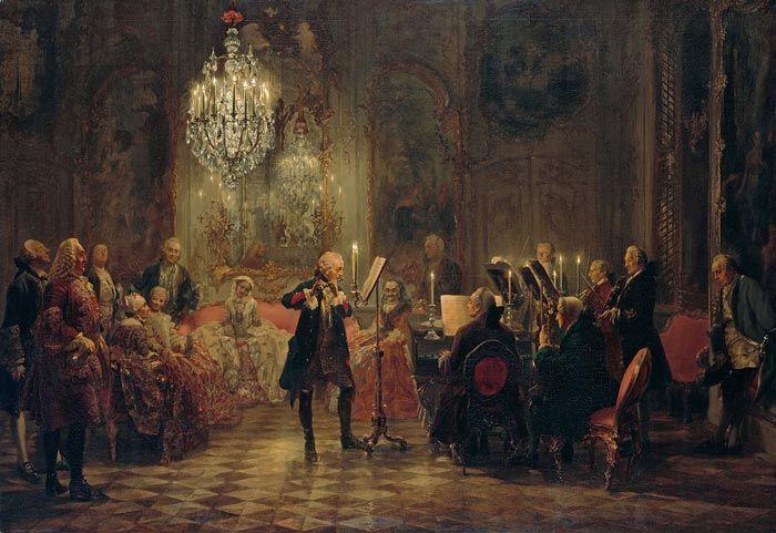 Concierto de flauta con Federico el Grande en Sanssouci, de Adolph Menzel (1850-52). Wikimedia Commons.