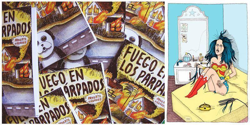 Portada del fanzine Fuego en los párpados y una ilustración de su autora Roberta Vázquez