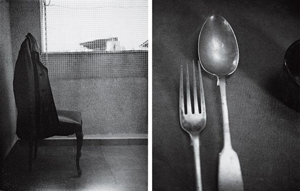 Silla de Roberto Bolaño y cubiertos de Arthur Rimbaud fotografiados por Patti Smith.