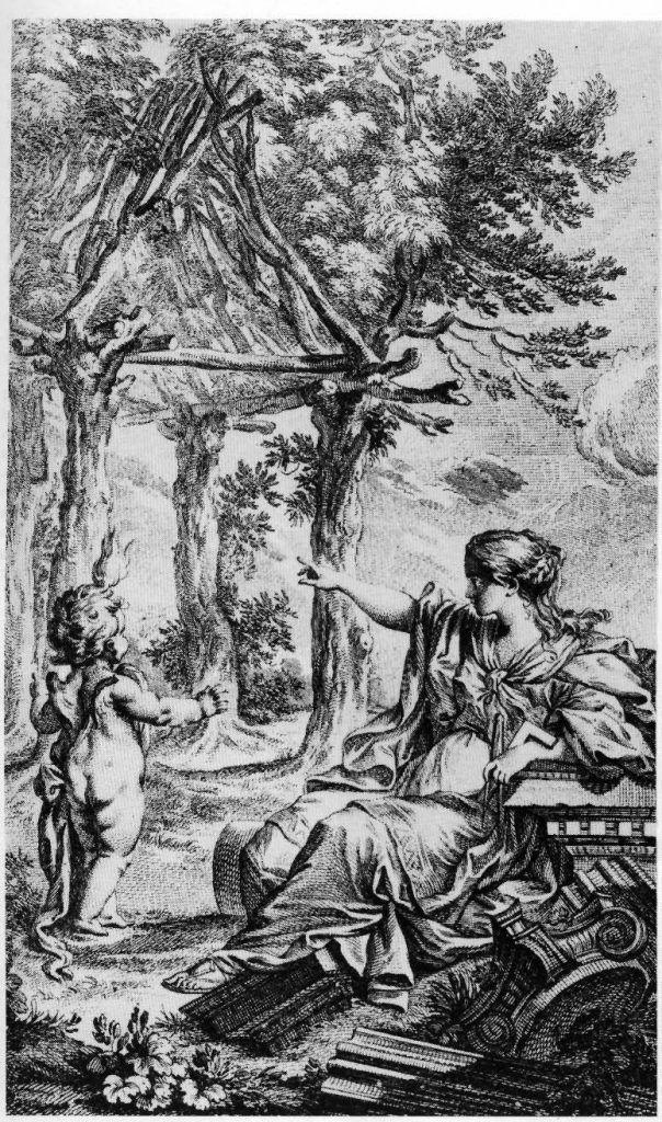 La cabaña de Vitruvio según Marc Antoine Laurier.