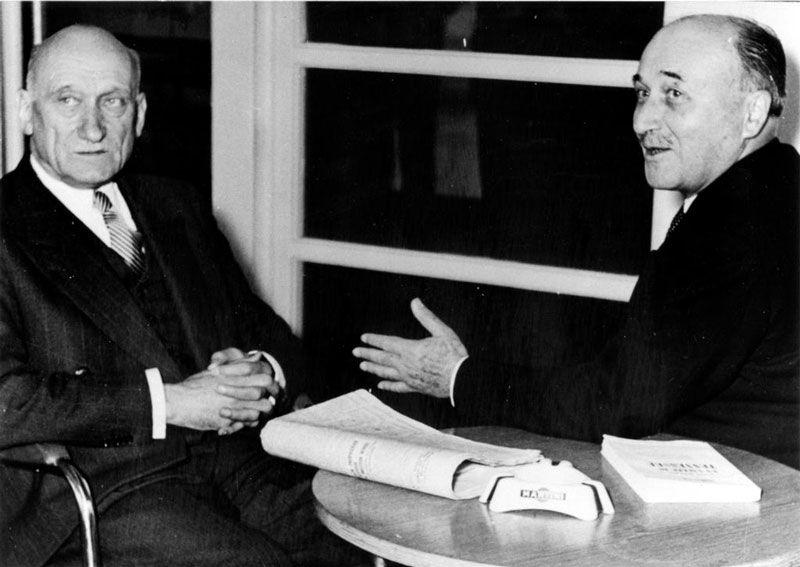 Robert Schuman y Jean Monnet en el Consejo de Europa. Foto de la Fundación Jean Monnet