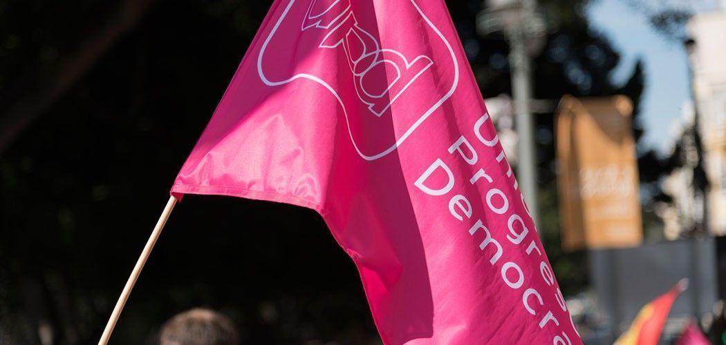 Bandera de UPyD en un acto de precampaña en Málaga. Imagen de David Moreno Gonzalo bajo licencia CC