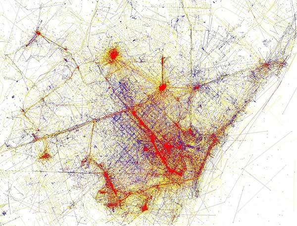 Fotos tomadas por turistas (rojo) y locales (azul) en Barcelona. Foto: Eric Fisher CC