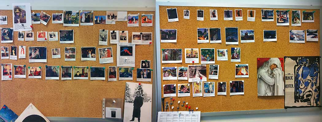 En el despacho de Paloma Alarcó, se pueden ver los restos de la concepción y el montaje de la exposición.