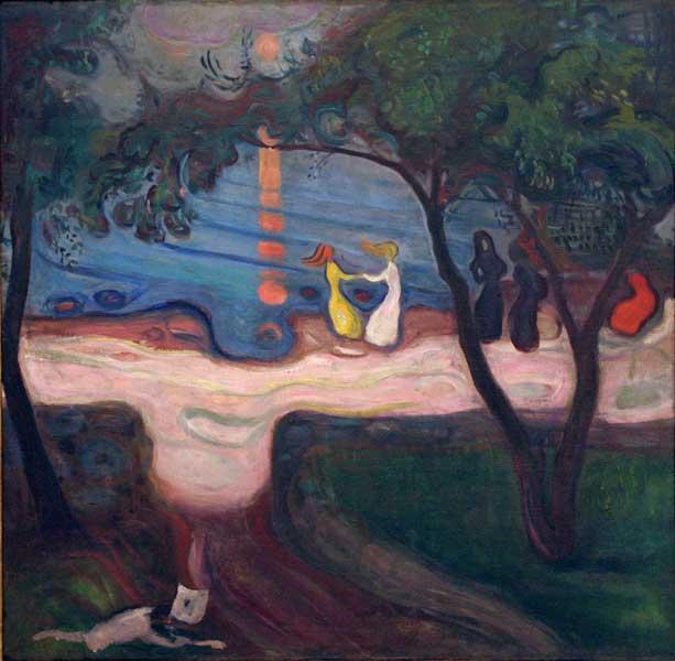'Baile en la orilla', 1899-1900, E. Munch. Óleo sobre lienzo. Galeria Nacional de Praga.