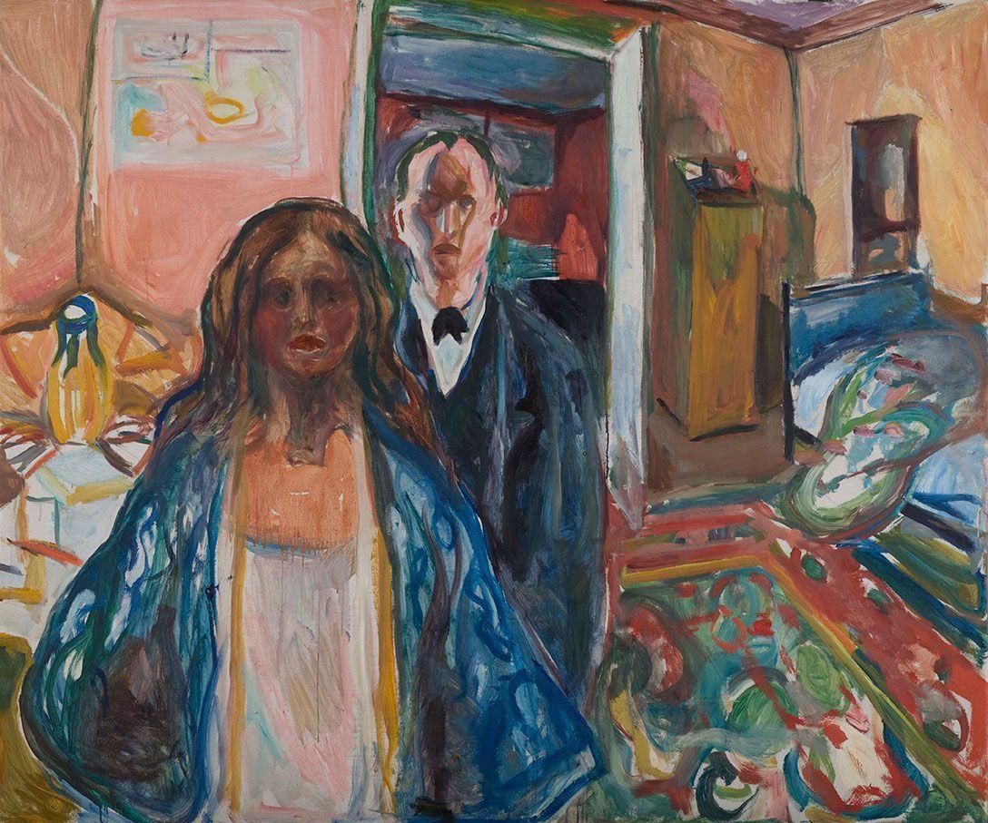 'El artista y su modelo', 1919-21, E. Munch. Óleo sobre lienzo. Munch Museet, Oslo.