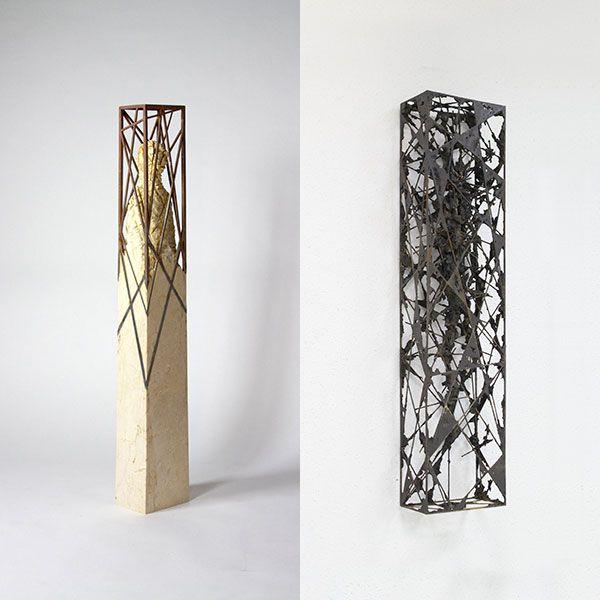 'Estructura incorporada', 2014, piedra (crema marfil) y hierro, 126 x 18 x 22 cm. 'Acotación III', 2015, hierro y epoxi, 130 x 30 x 15 cm.