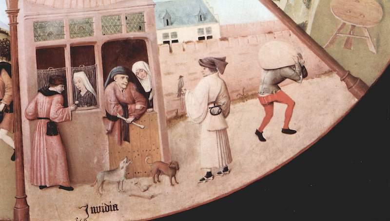 Detalle de «Mesa de los pecados capitales», El Bosco.