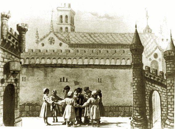 Fotogramas de la película sobre la Historia del Romancero, rodada en 1948 con alumnos del Colegio Estudio como actores.