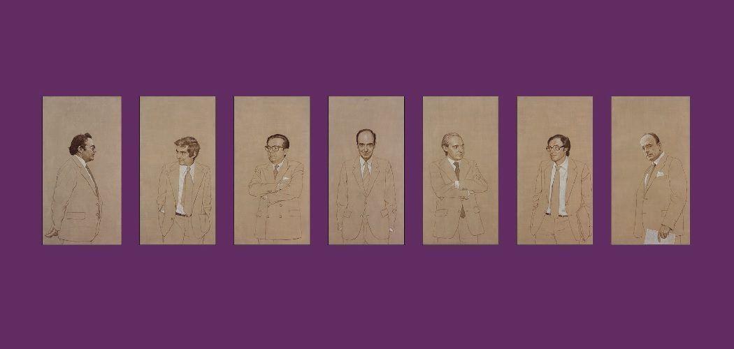 Montaje con los retratos de los padres de la Constitución de Hernán Cortés Moreno, que se encuentran en la Sala Constitucional del Congreso de los Diputados