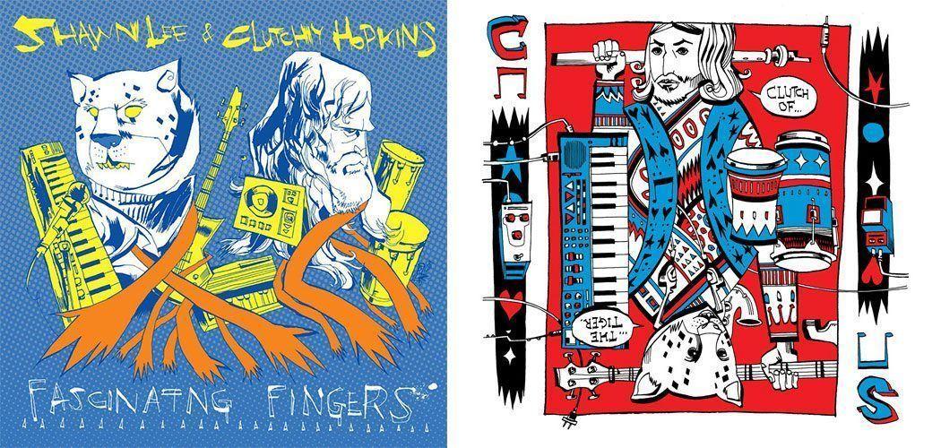 Izquierda: Portadas de los discos 'Fascinating Fingers' de Shawn Lee and Clutchy Hopkins, y 'Clutch of the Tiger' de Clutchy Hopkins, ambas ilustradas por Jim Mahfood