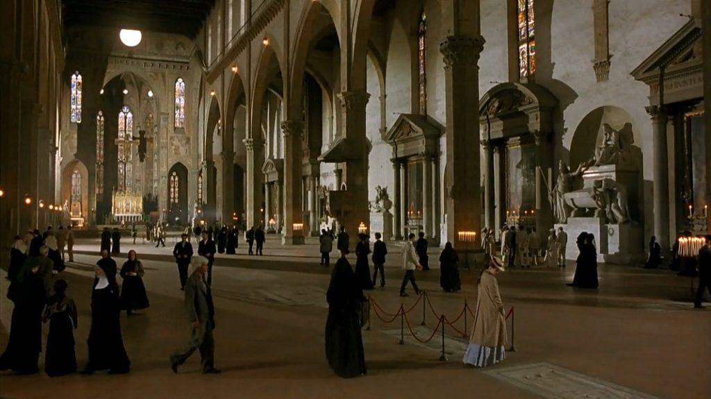 Escena de la película 'Una habitación con vistas' (J. Ivory, 1985) en el interior de la Santa Croce, Florencia, Italia.