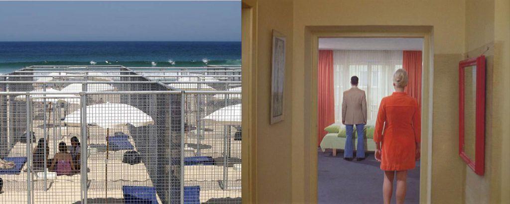 Izquierda: '21 Beach Cells', Gregor Schneider, 2007, Bondi Beach, Sydney. Derecha: Escena de la película 'Todos nos llamamos Alí' (R.W.Fassbinder, 1974).