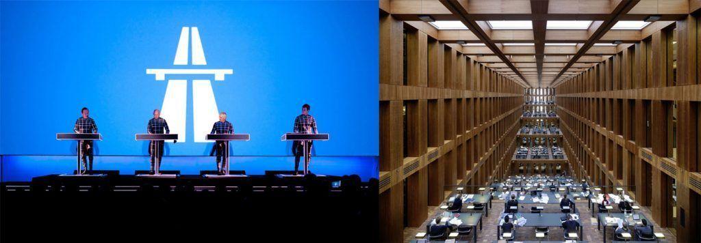 Izquierda: Kraftwerk durante un concierto del disco 'Autobahn' en el MoMa, Nueva York, 2012. Derecha: Biblioteca de la Humboldt-Universität, Max Dudler, Berlin, 2009.