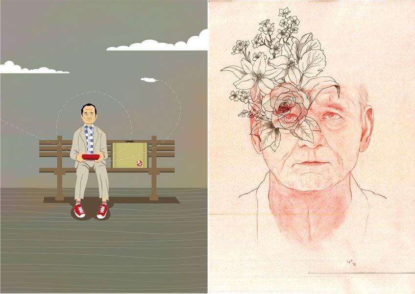 A la izquierda, la ilustración de Pedro Peinado sobre el posible papel de Bill Murray interpretando a Forrest Gump. A la derecha, Murray y sus Flores rotas, dibujado por Lucía Hidalgo.