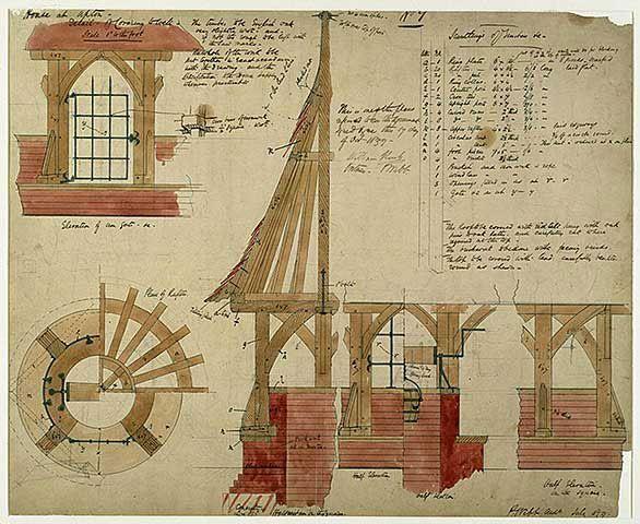 Detalles constructivos para 'La casa roja', un encargo de William Morris al arquitecto Philip Webb en 1859.