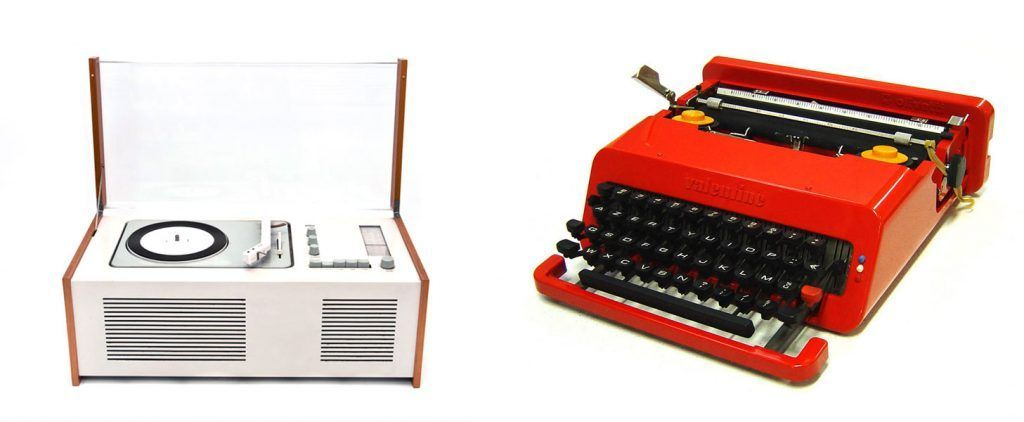 Grabador-reproductor SK-4 de Dieter Rams y la máquina de escribir Olivetti de Ettore Sottsass.