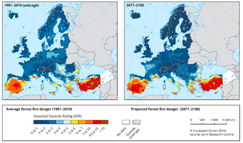 Figura 2: Estado actual y evolución prevista del riesgo de incendios en Europa