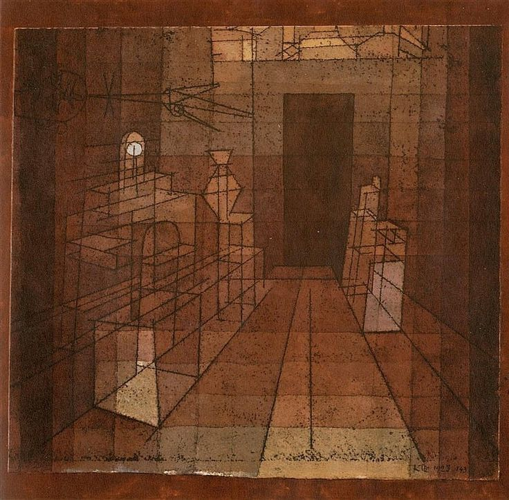 'Perspectiva con puerta abierta', 1923. Paul Klee.