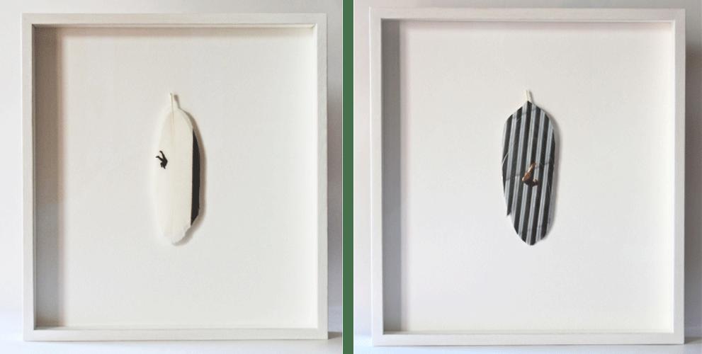 Avelino Sala, 21st Century Icarus, 2017 impresión Inkjet sobre pluma de pato, 30 x 28 x 4 cm,