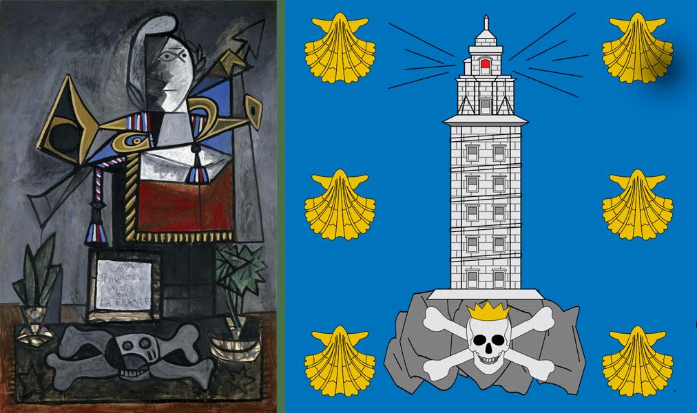 """Lienzo """"Monumento a los españoles muertos por Francia' (1946-1947, Colección Museo Reina Sofía), a la izquierda, comparado con el escudo de A Coruña, a la derecha."""