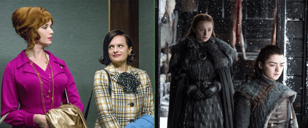 Peggy Olson y Joan Holloway en Mad Men, a la derecha, y las hermanas Sansa y Arya Stark en Juego de Tronos a la izquierda.