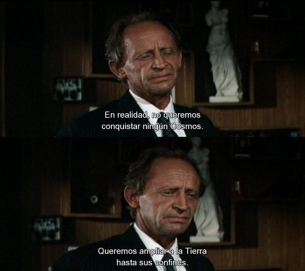 «No queremos conquistar ningún Cosmos. Queremos ampliar la Tierra hasta sus confines. No necesitamos otros mundos. Queremos un espejo. Buscamos un contacto, pero nunca lo encontraremos», Solaris, Andrei Tarkovsky, 1972.