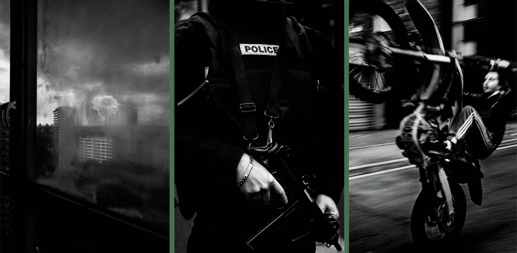 Izquierda: Vista de la Cité Modele desde el edificio número 1. Bruselas. Centro: Un policía impide el paso a una calle durante las operaciones llevadas a cabo tras los atentados del 13 de noviembre. Derecha: Un joven hace un caballito con una moto de cross en la calle Saint-Just, La Courneuve.
