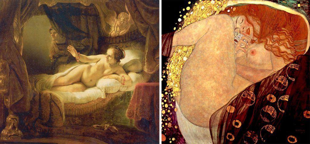 De izquierda a derecha: Rembrandt (1636), «Dánae», Museo del Hermitage; Gustav Klimt (1907), «Dánae», Leopold Museum.