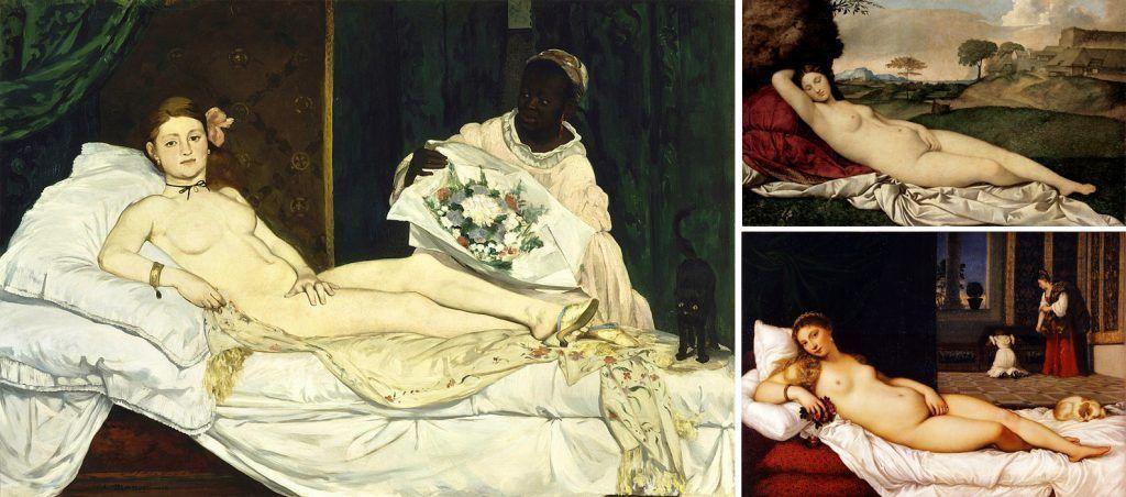 De izquierda a derecha: Edouard Manet (1863), «Olympia», Musée d'Orsay; Giorgione (1507-1510), «Venus dormida», Gemäldegalerie Alte Meister Dresden; Tiziano (1534), «Venus de Urbino», Galería Uffizi.