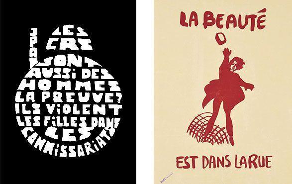 Atelier de l'Ecole Nationale des Beaux-Arts Atelier Populaire (1968), «Les CRS son aussi des hommes…» (Los antidisturbios también son hombres…) [serigrafía]; Atelier populaire Marseille (1968), «La beauté est dans la rue» (La belleza está en la calle) [serigrafía].